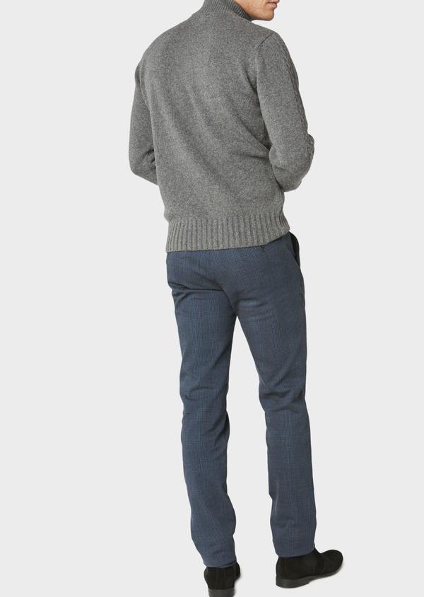 Pull en laine mélangée col montant zippé gris foncé uni - Father and Sons 30925