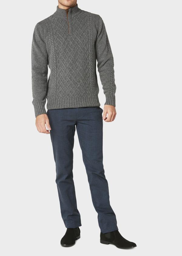 Pull en laine mélangée col montant zippé gris foncé uni - Father and Sons 30924