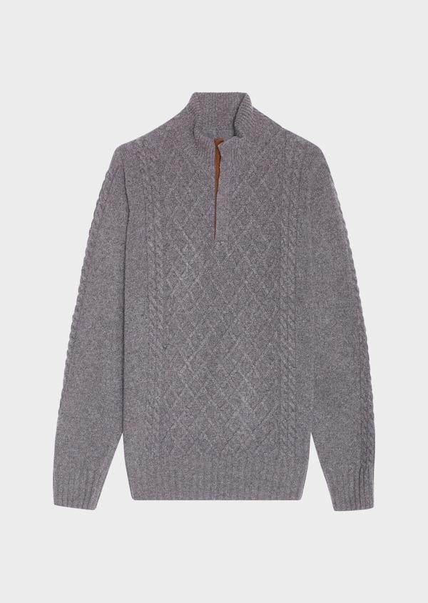 Pull en laine mélangée col montant zippé gris foncé uni - Father and Sons 30922