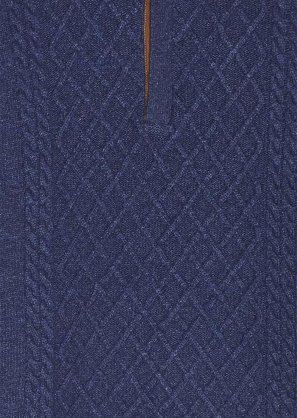Pull en laine mélangée torsadée col montant zippé bleu foncé uni - Father and Sons 30929
