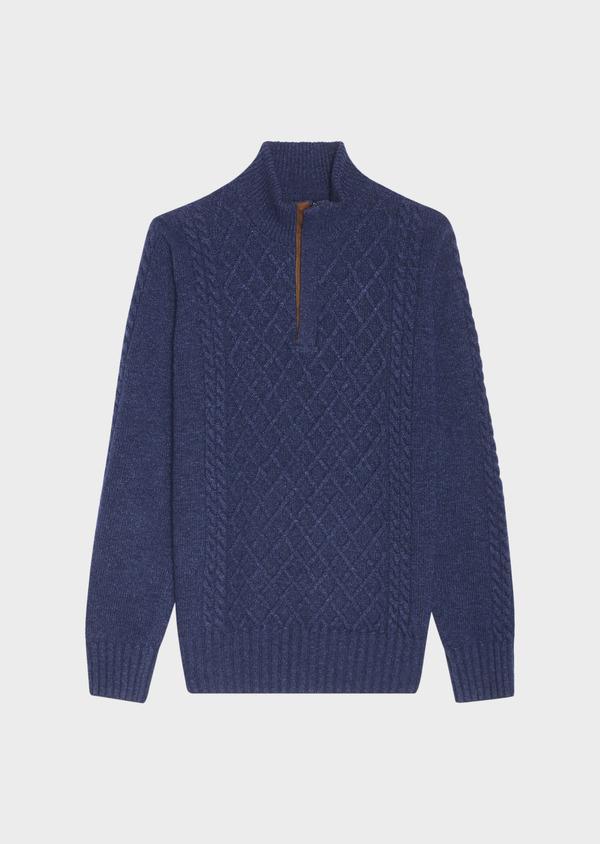 Pull en laine mélangée torsadée col montant zippé bleu foncé uni - Father and Sons 30928