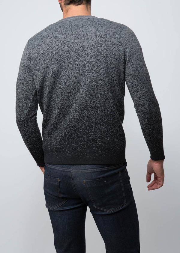 Pull en laine Mérinos mélangée col V gris anthracite à motif fantaisie - Father and Sons 29360