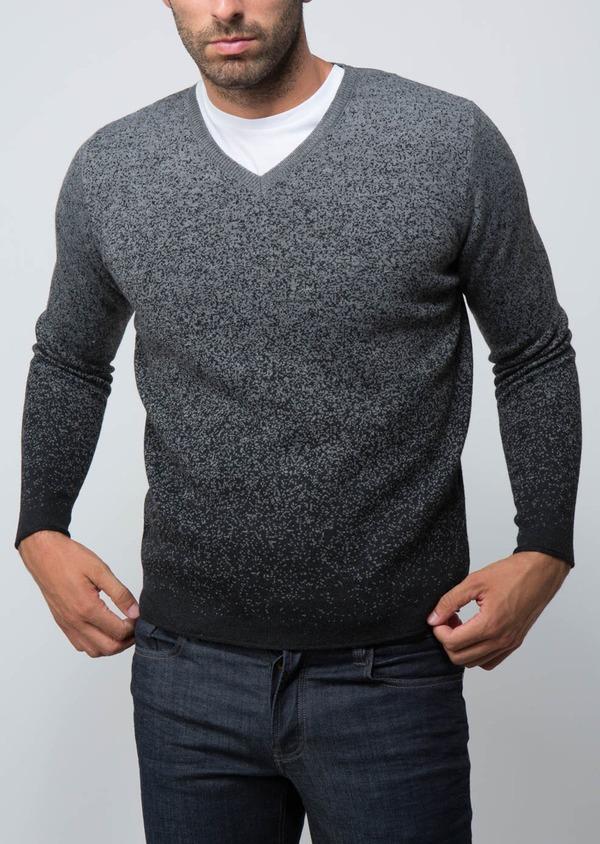 Pull en laine Mérinos mélangée col V gris anthracite à motif fantaisie - Father and Sons 29359