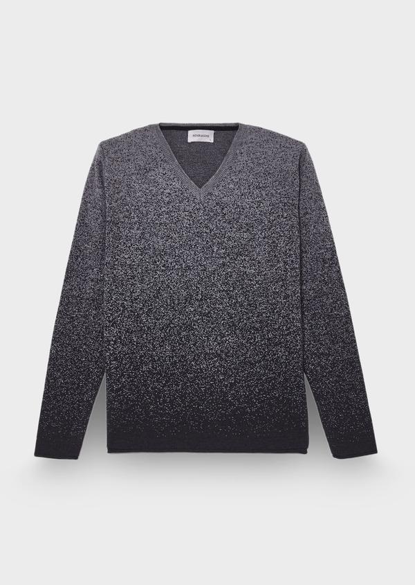 Pull en laine Mérinos mélangée col V gris anthracite à motif fantaisie - Father and Sons 29358