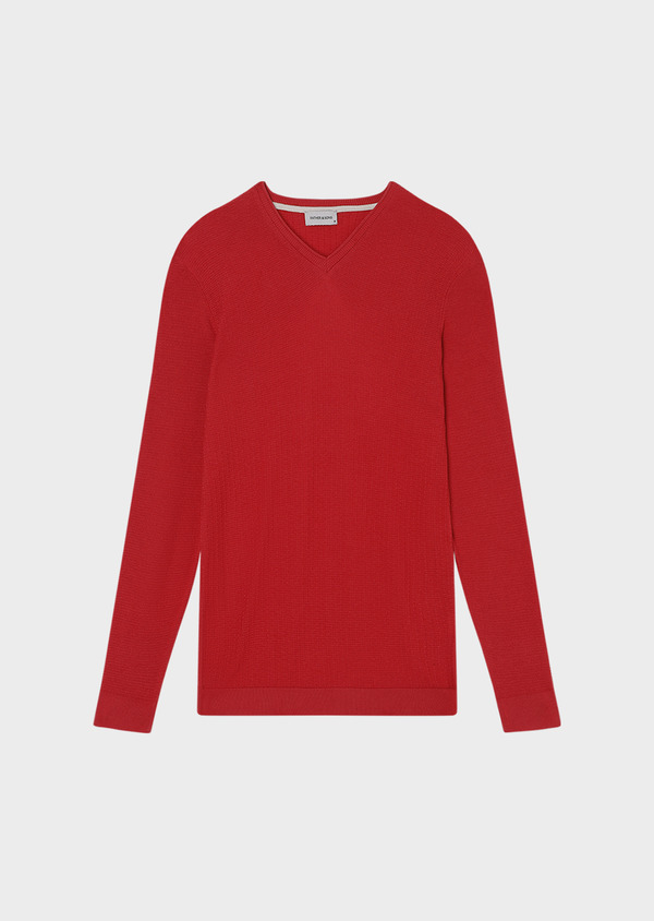 Pull en coton col V uni rouge - Father and Sons 33490