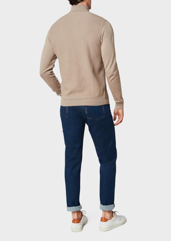 Pull en coton col zippé uni beige - Father and Sons 33497