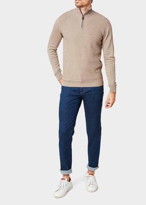 Pull en coton col zippé uni beige - Father and Sons 33496