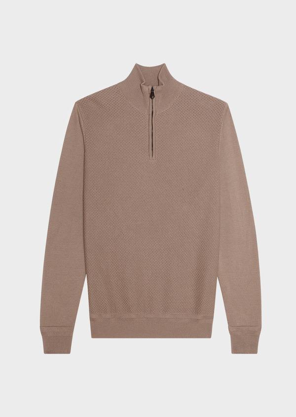 Pull en coton col zippé uni beige - Father and Sons 33494