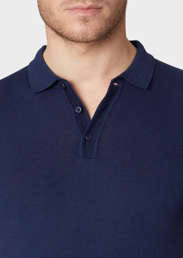 Pull polo manches courtes Slim en coton jersey uni bleu - Father and Sons 34048