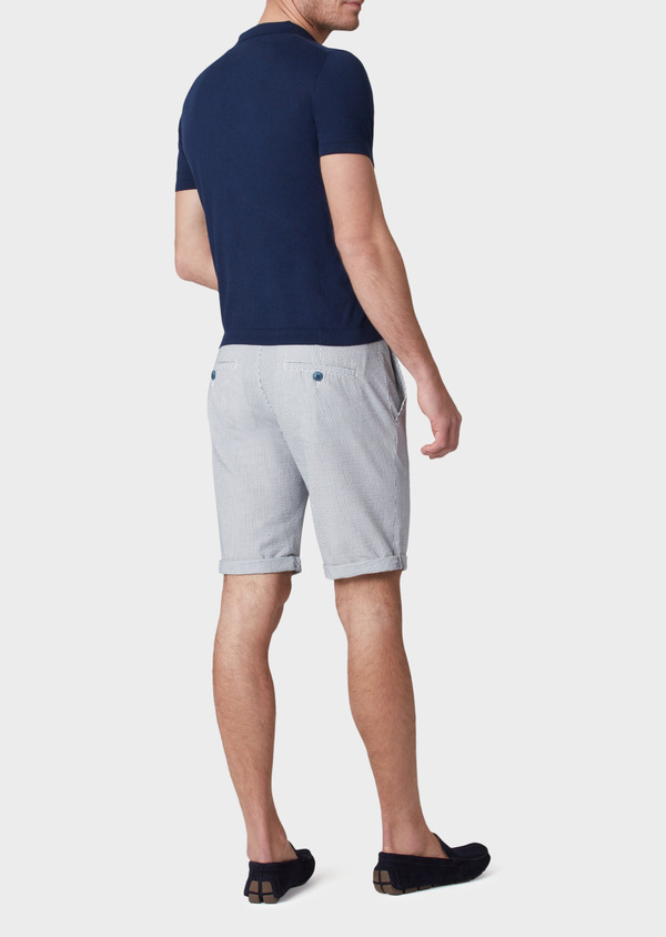 Pull polo manches courtes Slim en coton jersey uni bleu - Father and Sons 34047