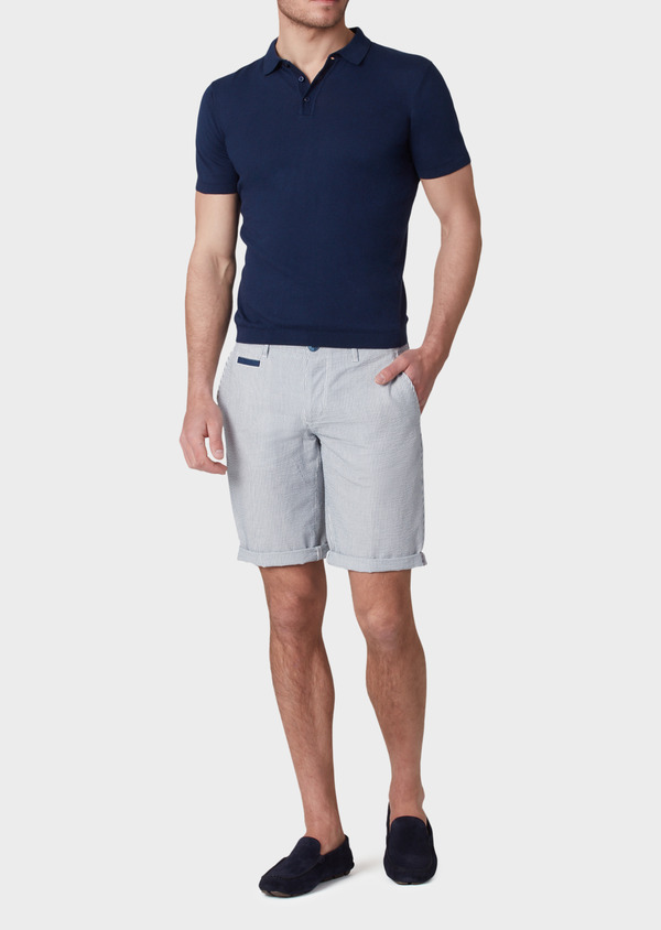 Pull polo manches courtes Slim en coton jersey uni bleu - Father and Sons 34046