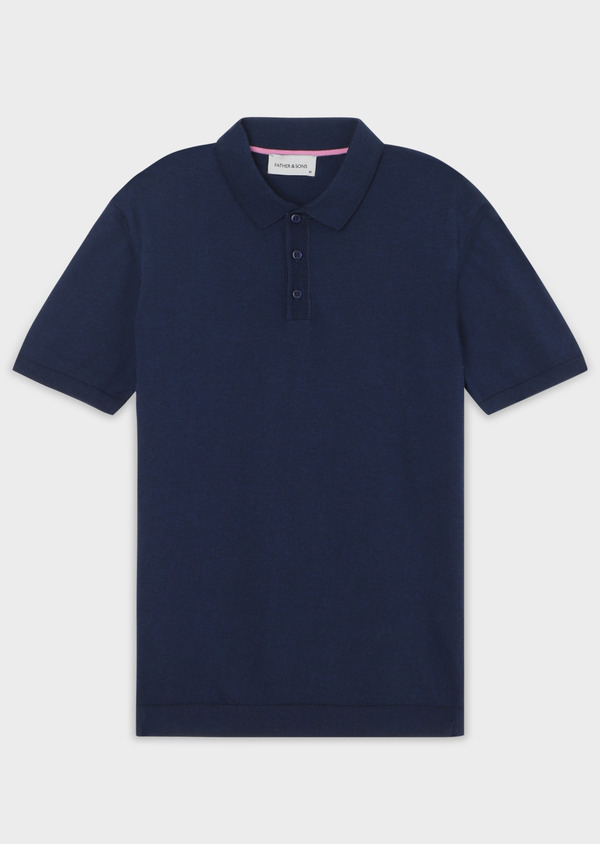 Pull polo manches courtes Slim en coton jersey uni bleu - Father and Sons 34044
