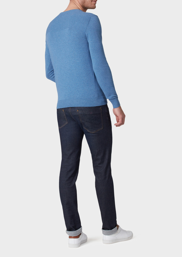 Pull en coton col rond uni bleu - Father and Sons 34043