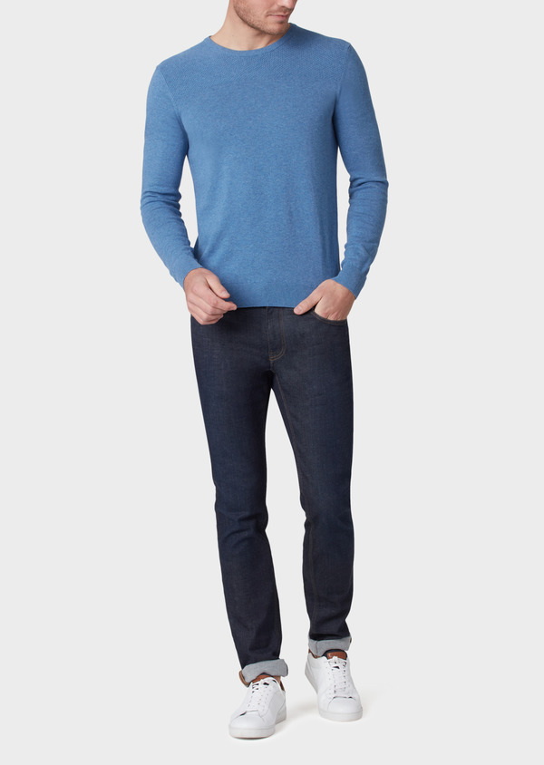 Pull en coton col rond uni bleu - Father and Sons 34042