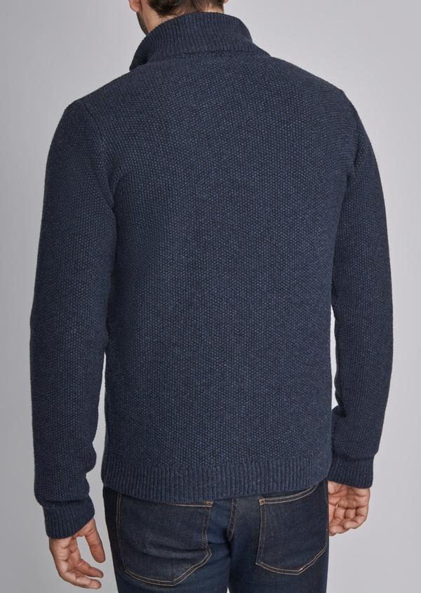 Cardigan boutonné en laine mélangée à col montant uni bleu - Father and Sons 29345