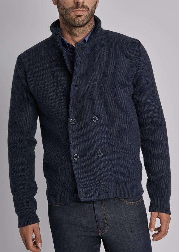 Cardigan boutonné en laine mélangée à col montant uni bleu - Father and Sons 29344