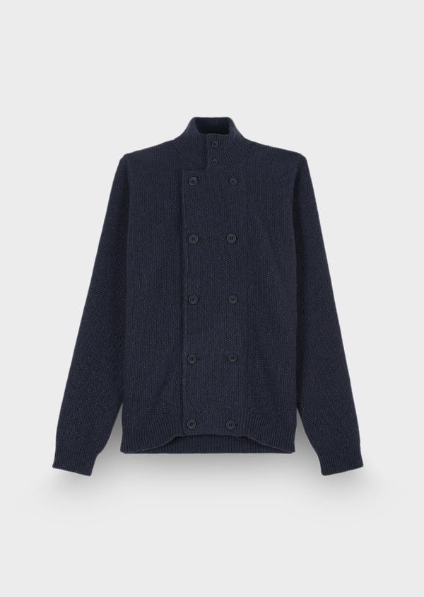 Cardigan boutonné en laine mélangée à col montant uni bleu - Father and Sons 29343