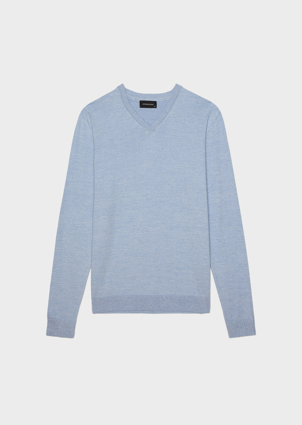Pull en coton col V uni bleu ciel - Father and Sons 34534