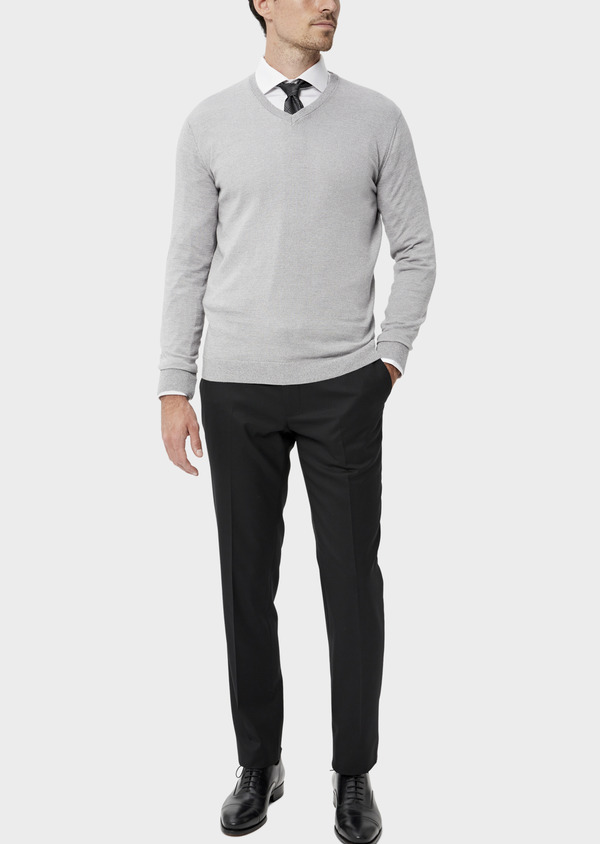 Pull en coton col V uni gris clair - Father and Sons 34540