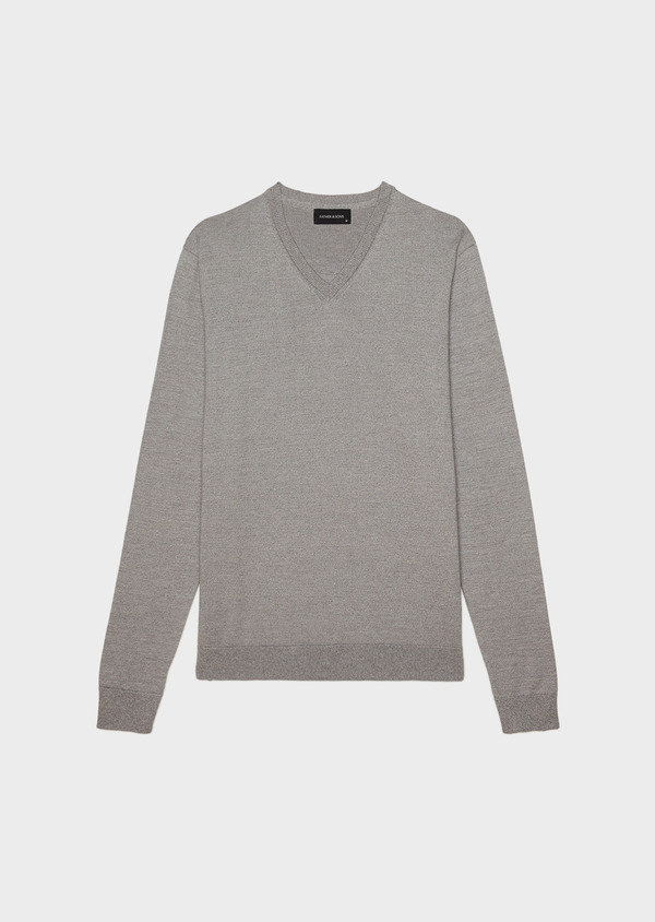 Pull en coton col V uni gris clair - Father and Sons 34538