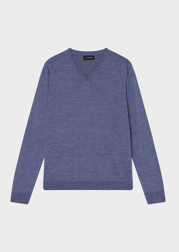 Pull en coton col V uni bleu - Father and Sons 33510