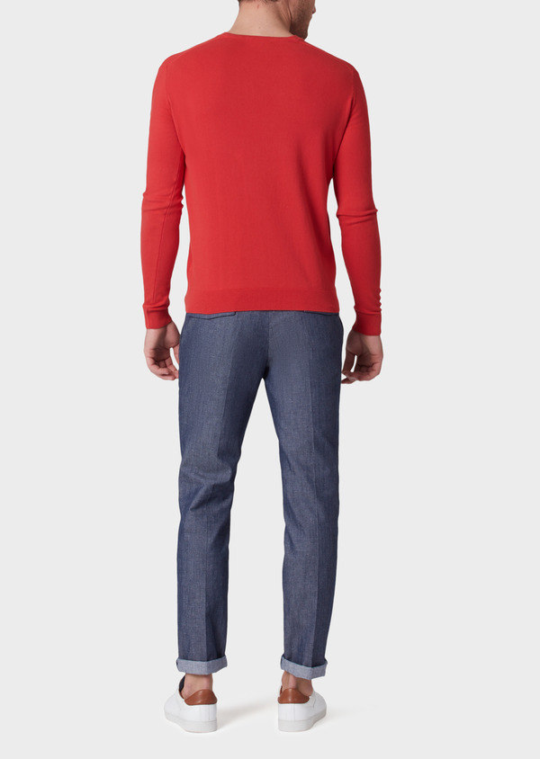 Pull en coton col V uni rouge - Father and Sons 34056