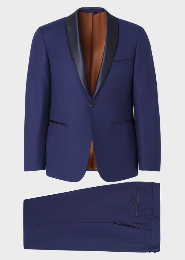 Smoking Slim en laine unie bleu indigo - Father and Sons 33517