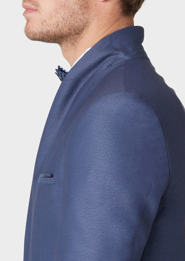 Smoking Slim en laine unie bleue - Father and Sons 34182