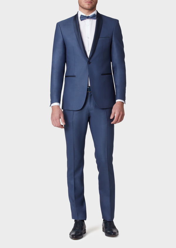 Smoking Slim en laine unie bleue - Father and Sons 34180