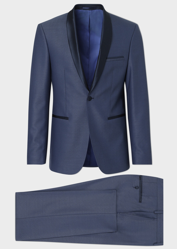 Smoking Slim en laine unie bleue - Father and Sons 34178
