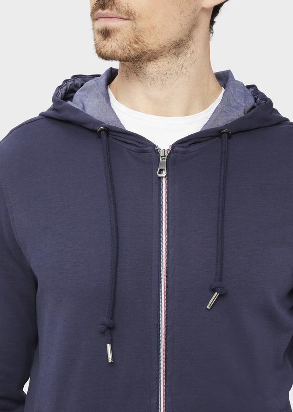 Sweat en coton mélangé à capuche uni bleu - Father and Sons 36830