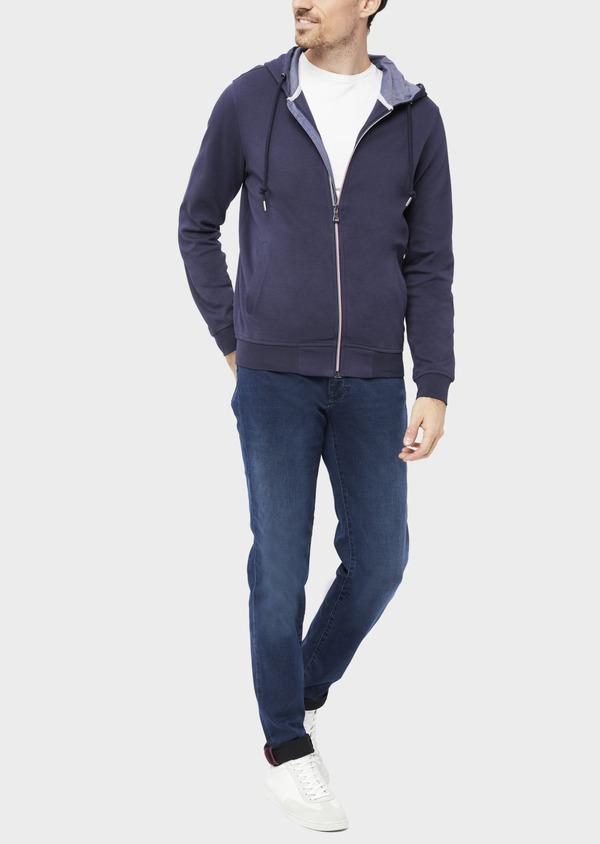Sweat en coton mélangé à capuche uni bleu - Father and Sons 36828