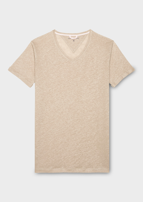 Tee-shirt manches courtes en lin col V beige - Father and Sons 18380