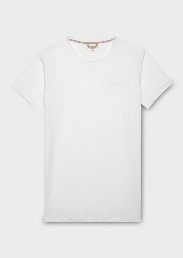 Tee-shirt manches courtes en lin col rond blanc - Father and Sons 20299