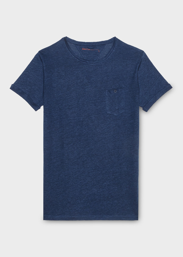 Tee-shirt manches courtes en lin col rond uni bleu - Father and Sons 18502