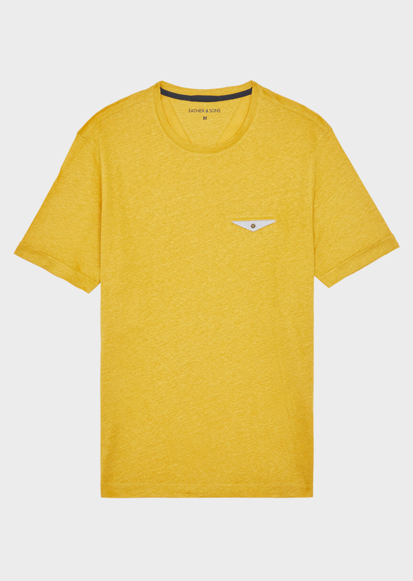 Tee-shirt manches courtes en lin uni col rond jaune - Father and Sons 37667