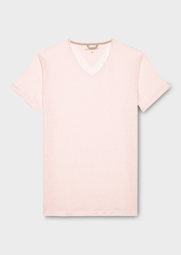 Tee-shirt manches courtes en lin col V rose - Father and Sons 20295