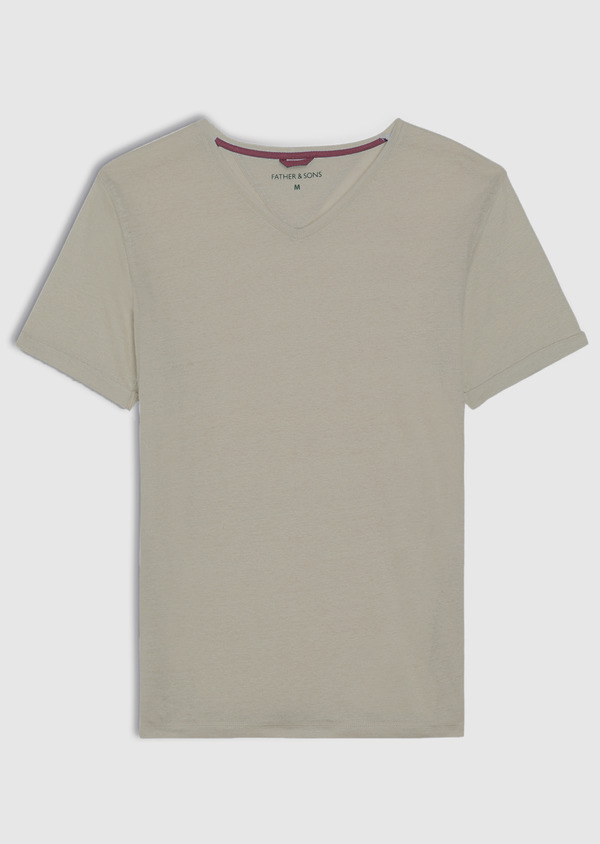 Tee-shirt manches courtes en lin col V uni beige - Father and Sons 34600