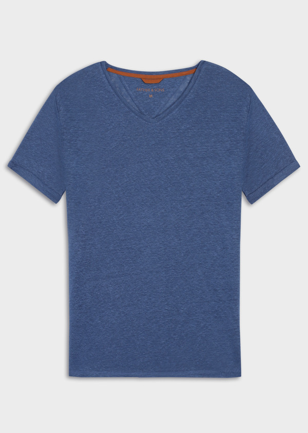 Tee-shirt manches courtes en lin col V uni bleu - Father and Sons 34582