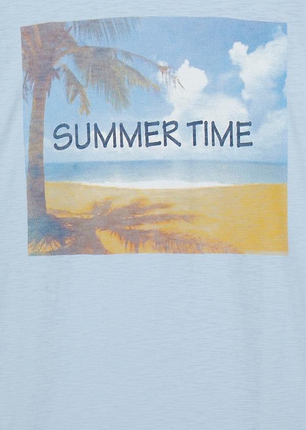 Tee-shirt manches courtes en coton col rond bleu ciel à motif fantaisie - Father and Sons 33556