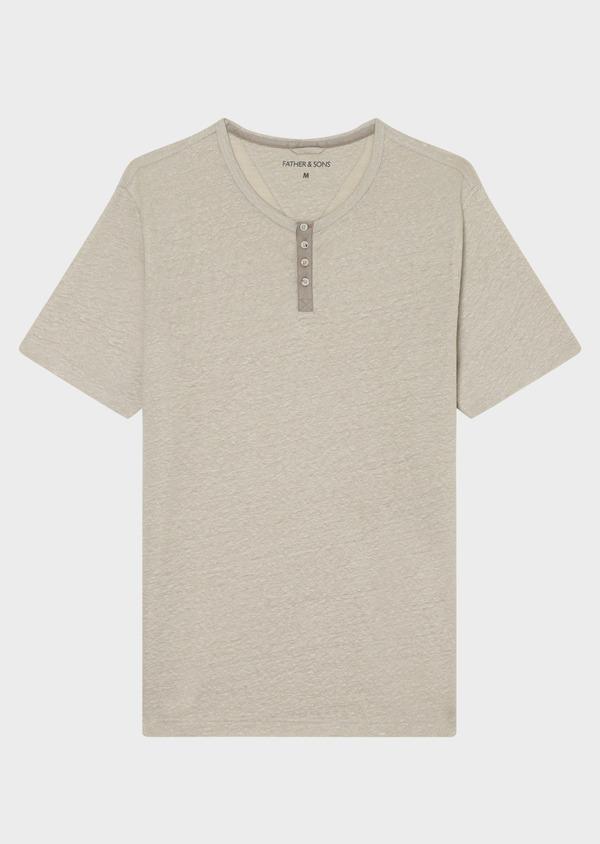 Tee-shirt manches courtes en lin col boutonné uni beige - Father and Sons 33734