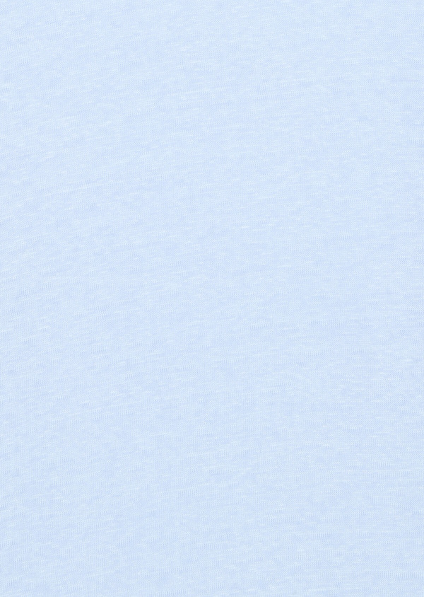 Tee-shirt manches courtes en lin col rond uni bleu ciel - Father and Sons 33566