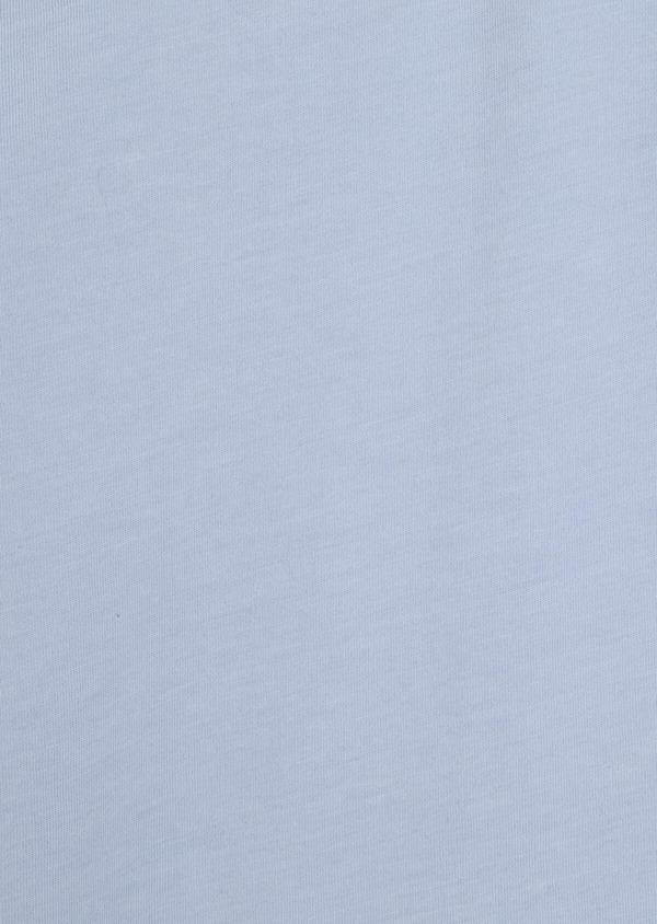 Tee-shirt manches courtes en coton col maho uni bleu ciel - Father and Sons 34425