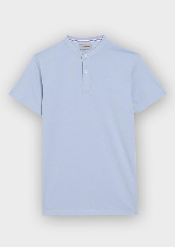 Tee-shirt manches courtes en coton col maho uni bleu ciel - Father and Sons 34424