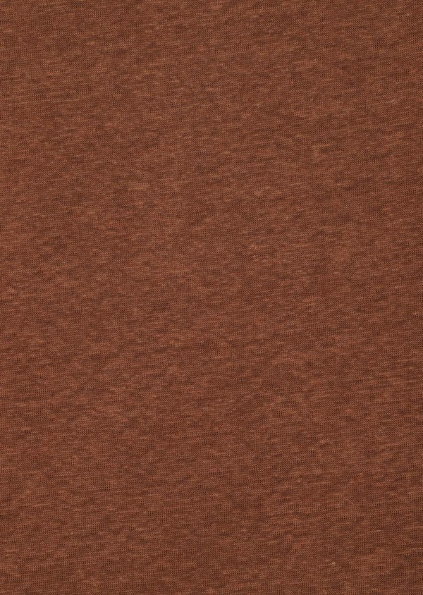 Tee-shirt manches courtes en lin col rond uni marron - Father and Sons 33564
