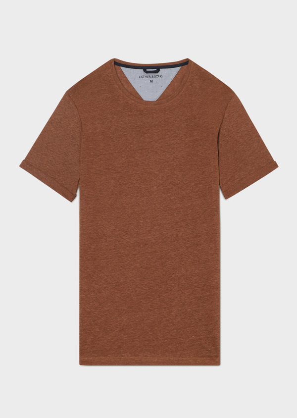 Tee-shirt manches courtes en lin col rond uni marron - Father and Sons 33563