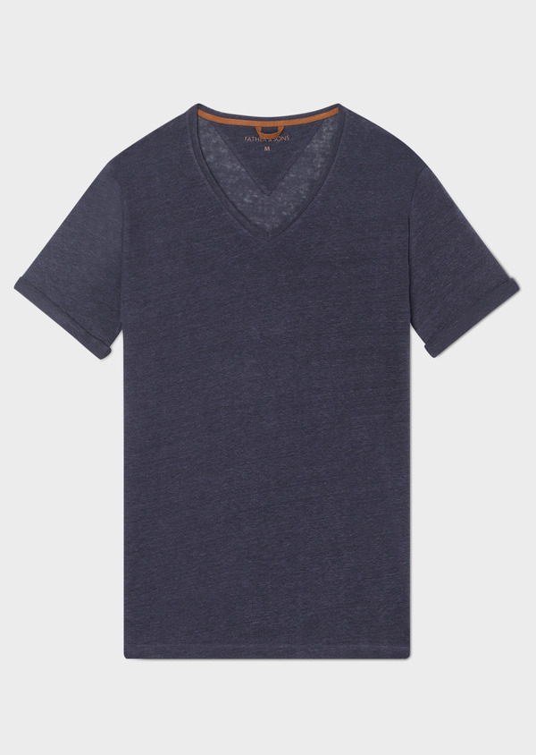 Tee-shirt manches courtes en lin col V uni bleu marine - Father and Sons 33573