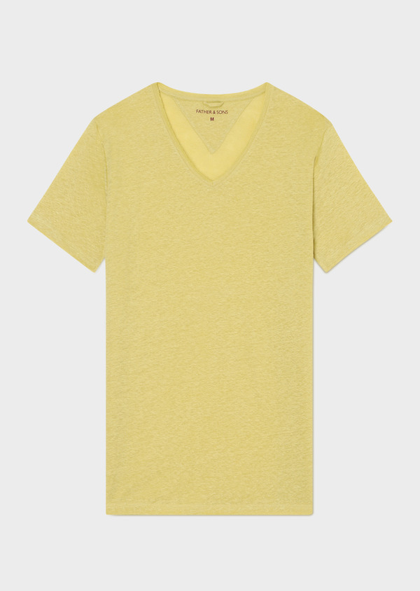 Tee-shirt manches courtes en lin col V uni jaune - Father and Sons 33569