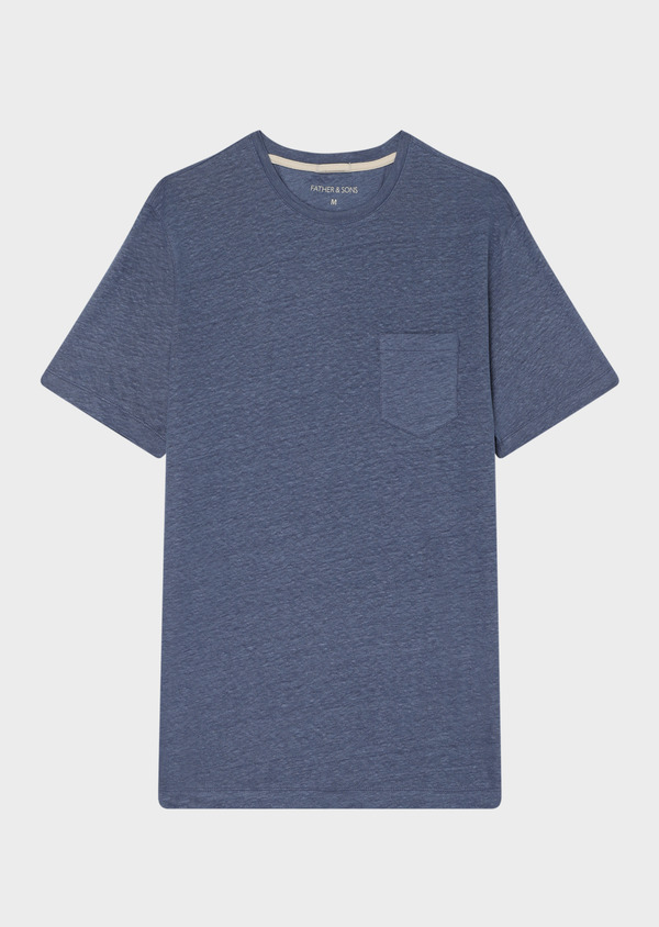 Tee-shirt manches courtes en lin col rond uni bleu - Father and Sons 33726