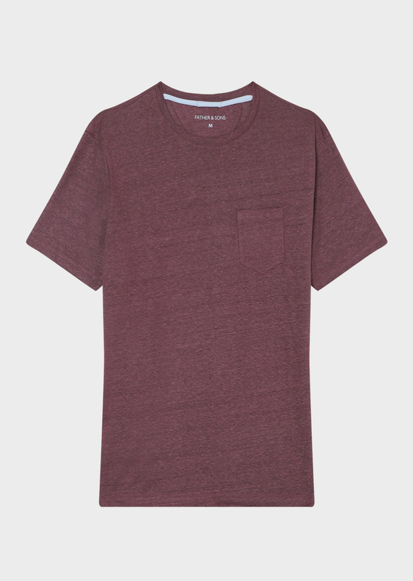 Tee-shirt manches courtes en lin col rond uni violet - Father and Sons 33724